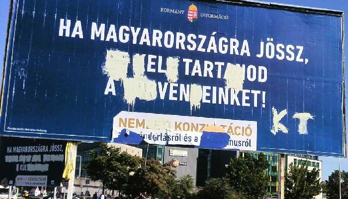 Xenofób kormányzati plakát