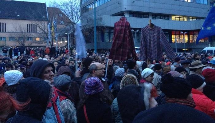 Tüntetés a Teleki Blanka Gimnáziumnál, 2016. február 19. Fotó kettőspont Lestyánszky Ádám II.
